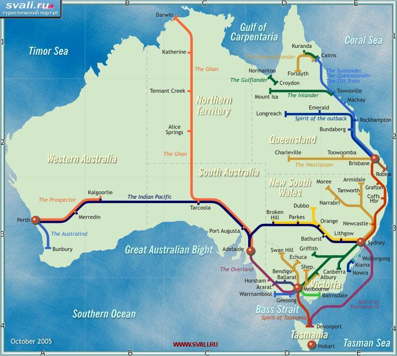 Схема железных дорог Австралии