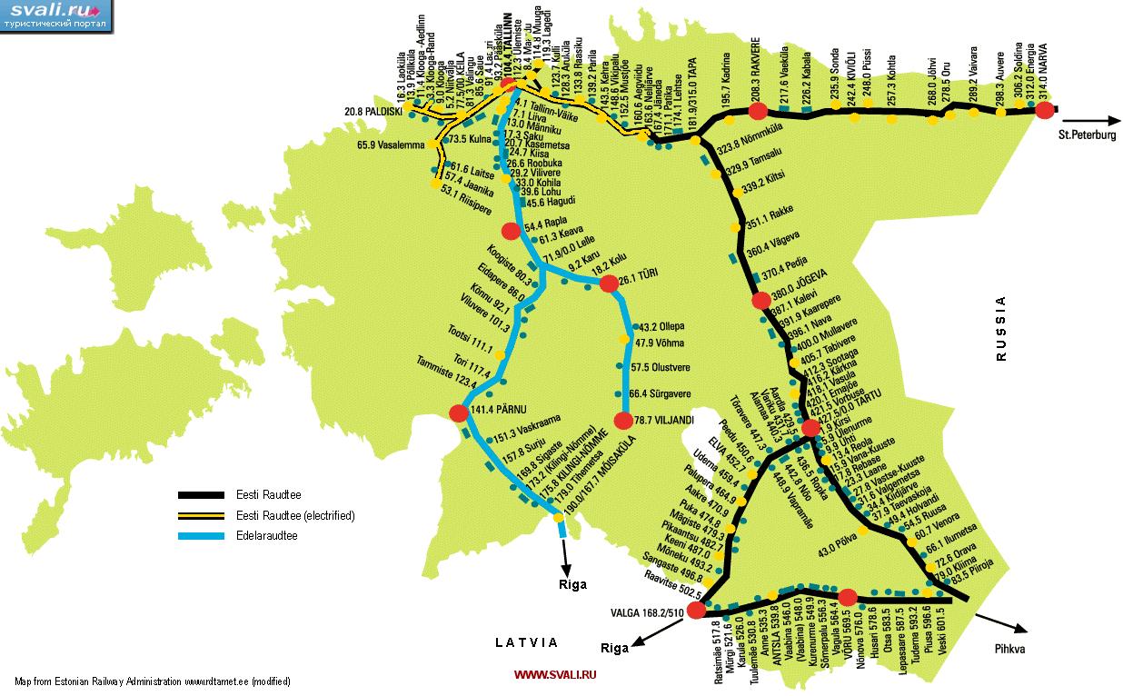 Схема железных дорог Эстонии (эст.