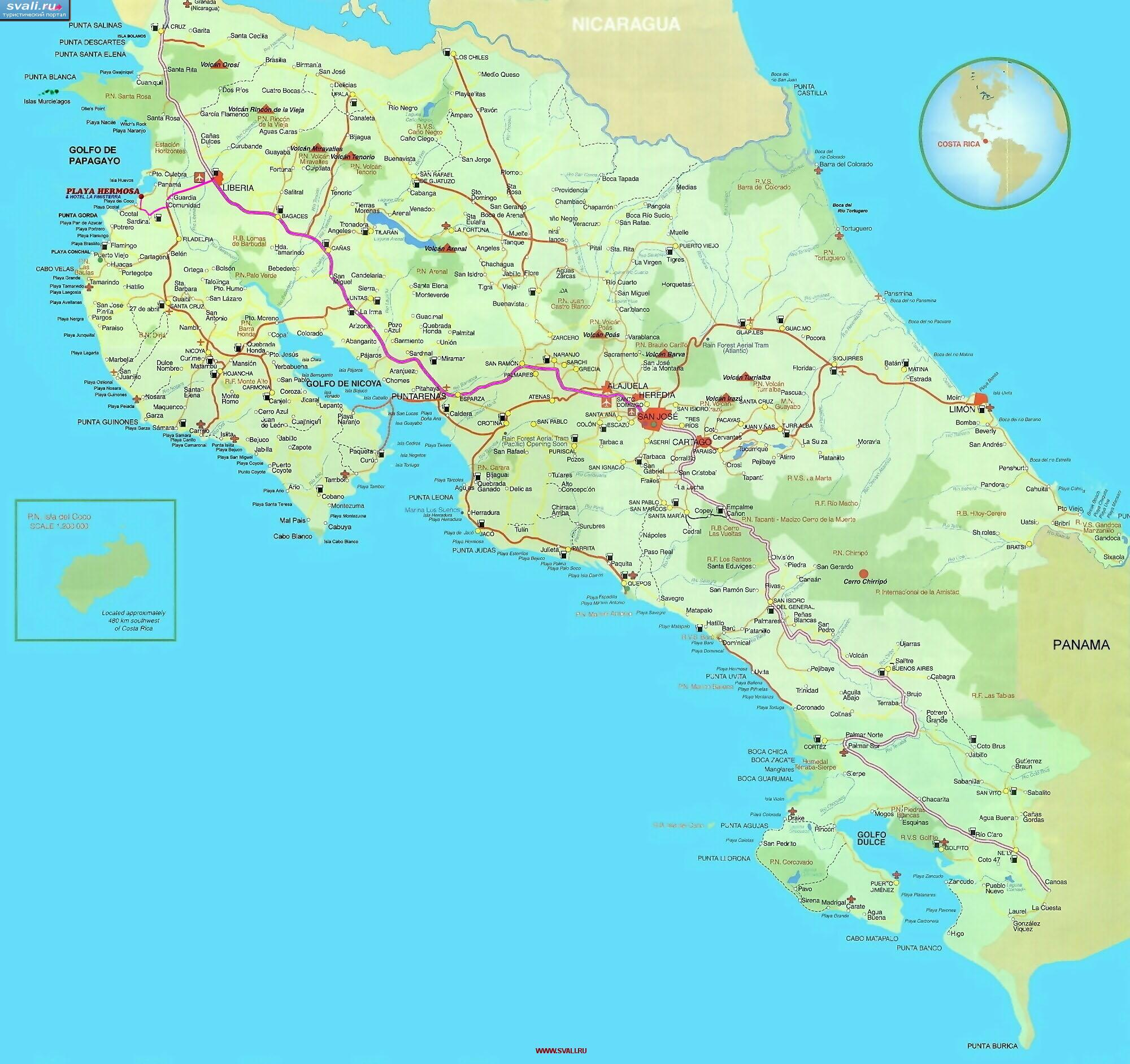 Karty Turisticheskaya Karta Kosta Riki Isp Kosta Rika