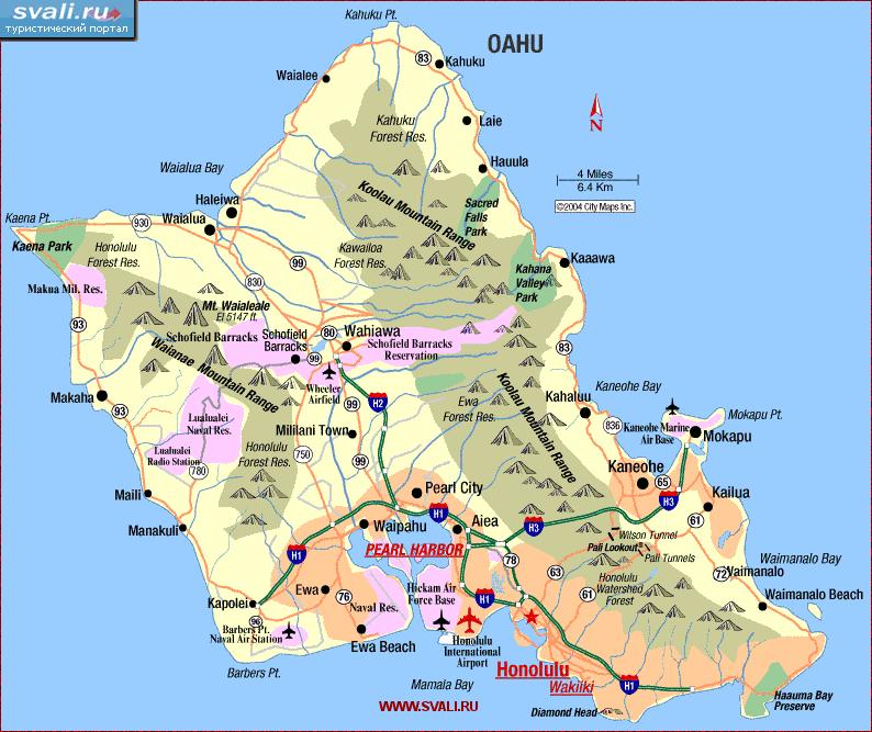 Гавайские острова карта острова оаху