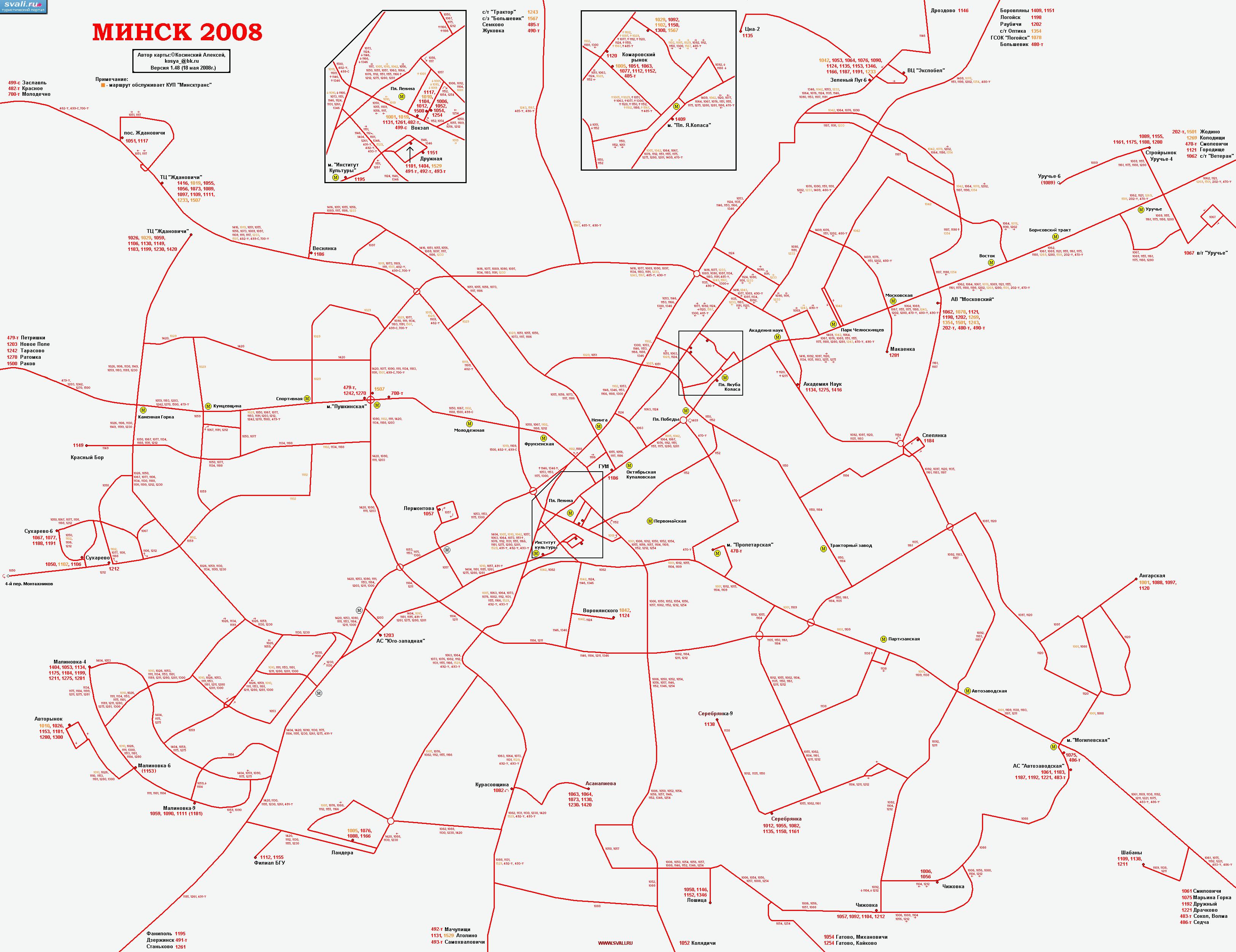 Схема движения общественного транспорта в минске на карте