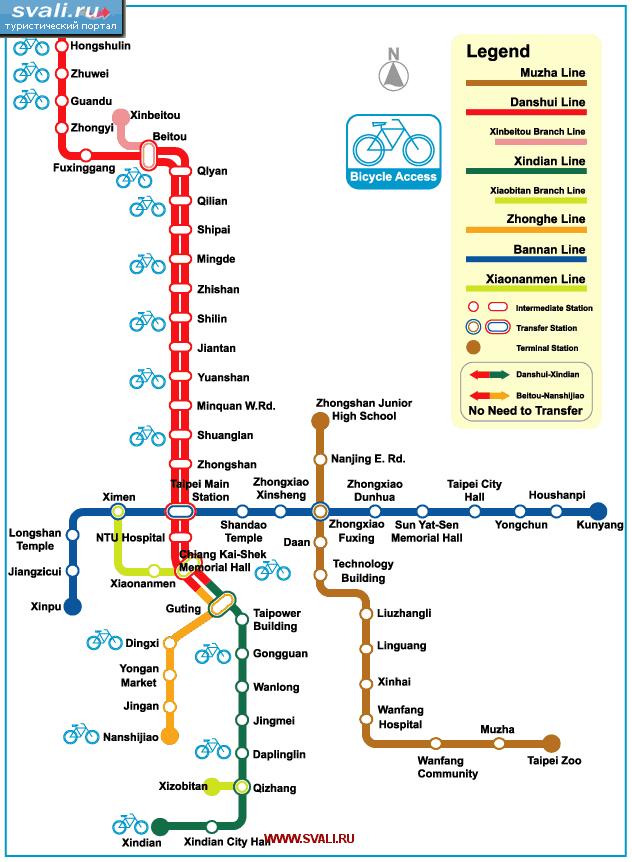 Схема метро Тайпея, Тайвань