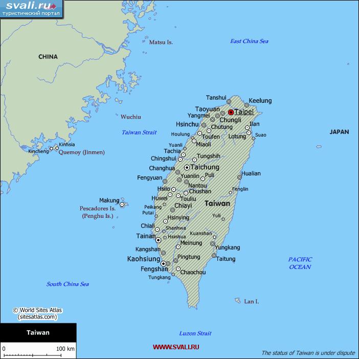 Карта мир где находится тайвань