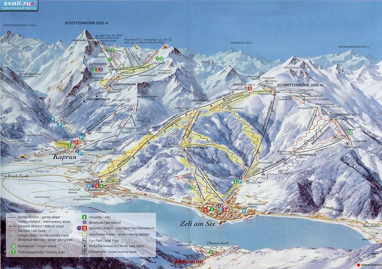 В зону действия ski-pass попадают оба региона катания: гора Schmittenhoehe и район ледника Kaprun.
