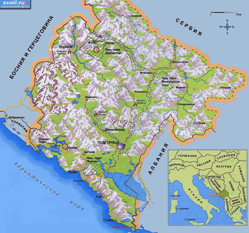 черногория карта фото