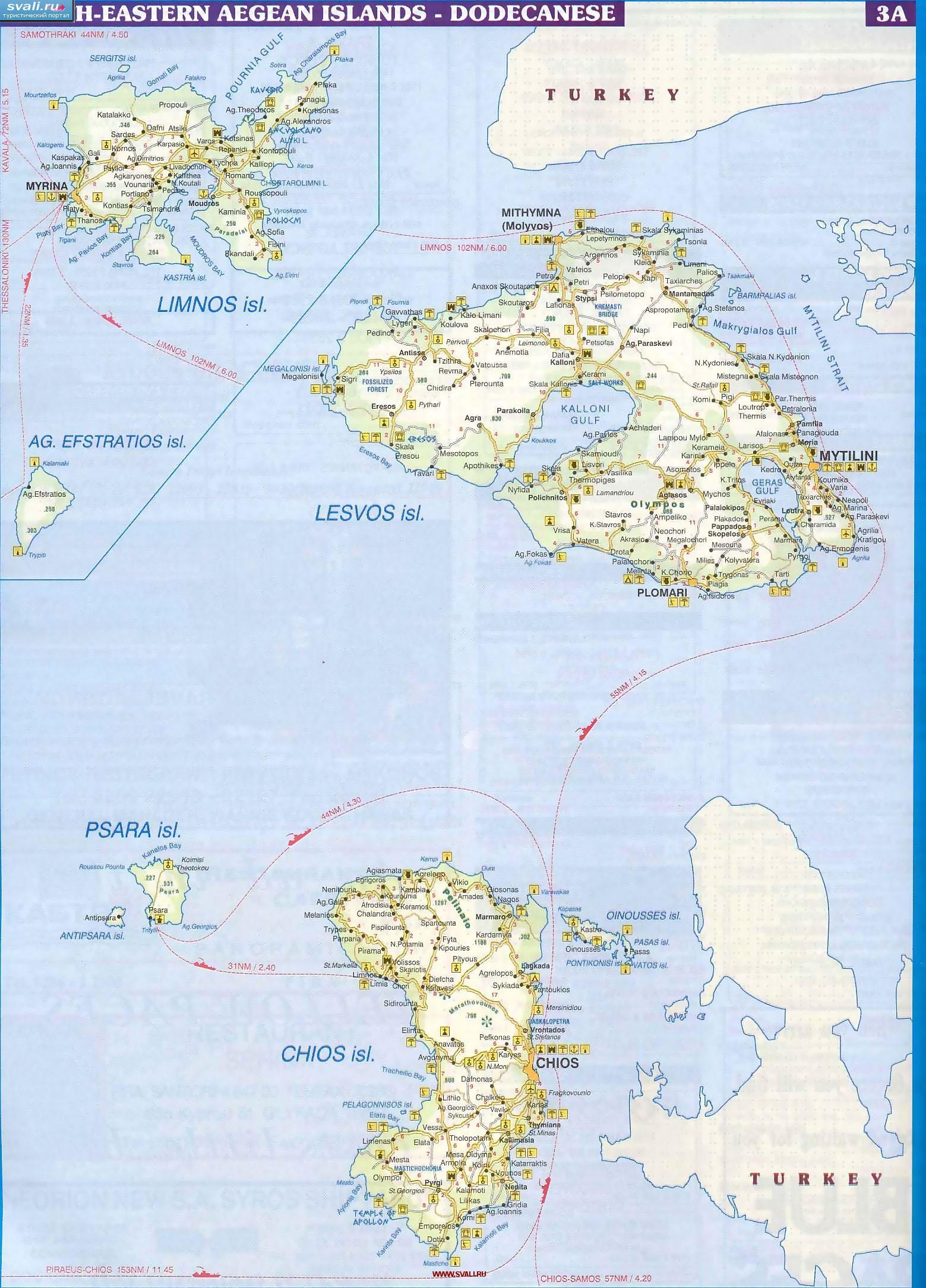 Karty Podrobnaya Karta Severo Vostochnyh Egejskih Ostrovov Lemnos