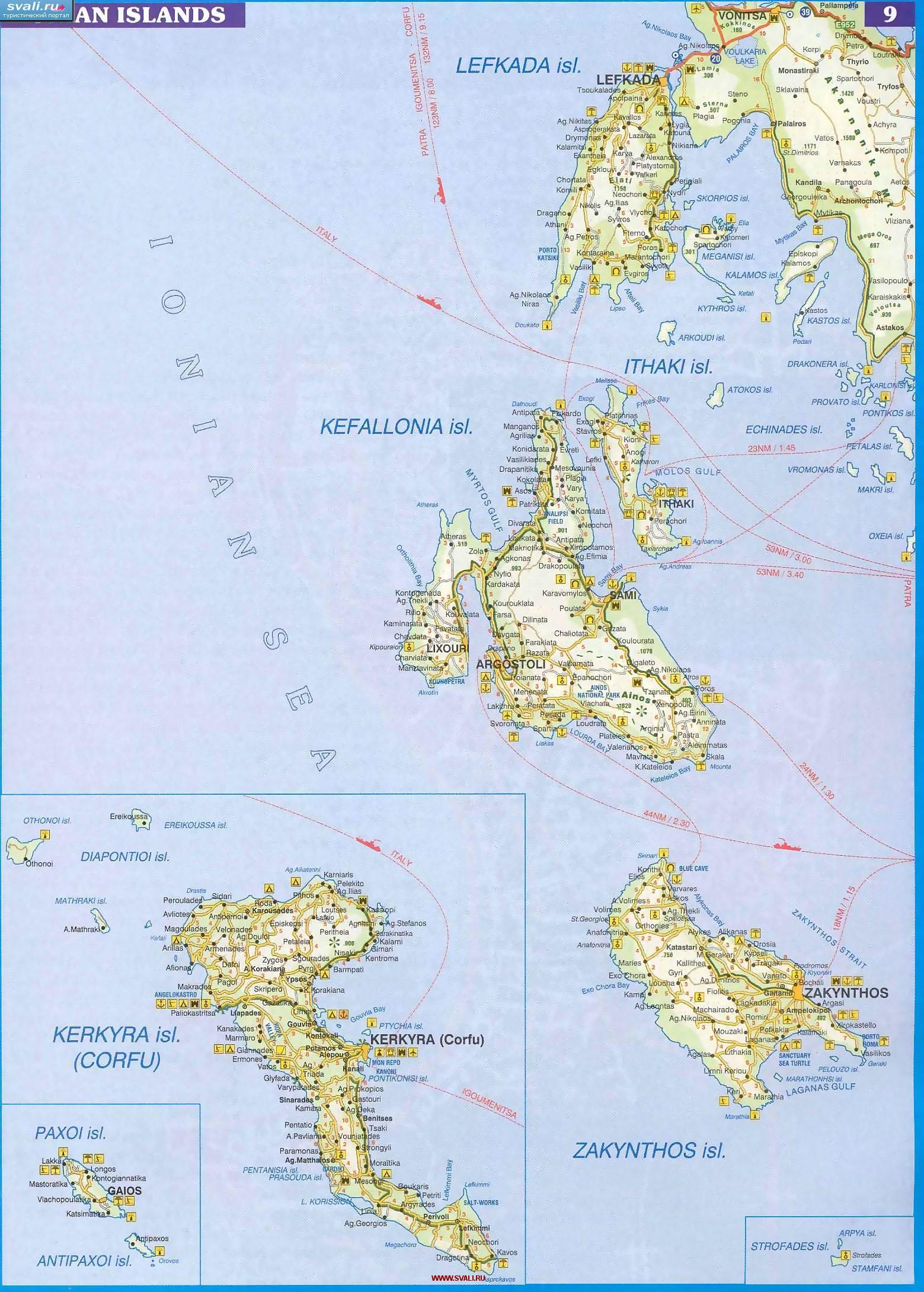 Karty Podrobnaya Karta Ionicheskih Ostrovov Ionian Islands