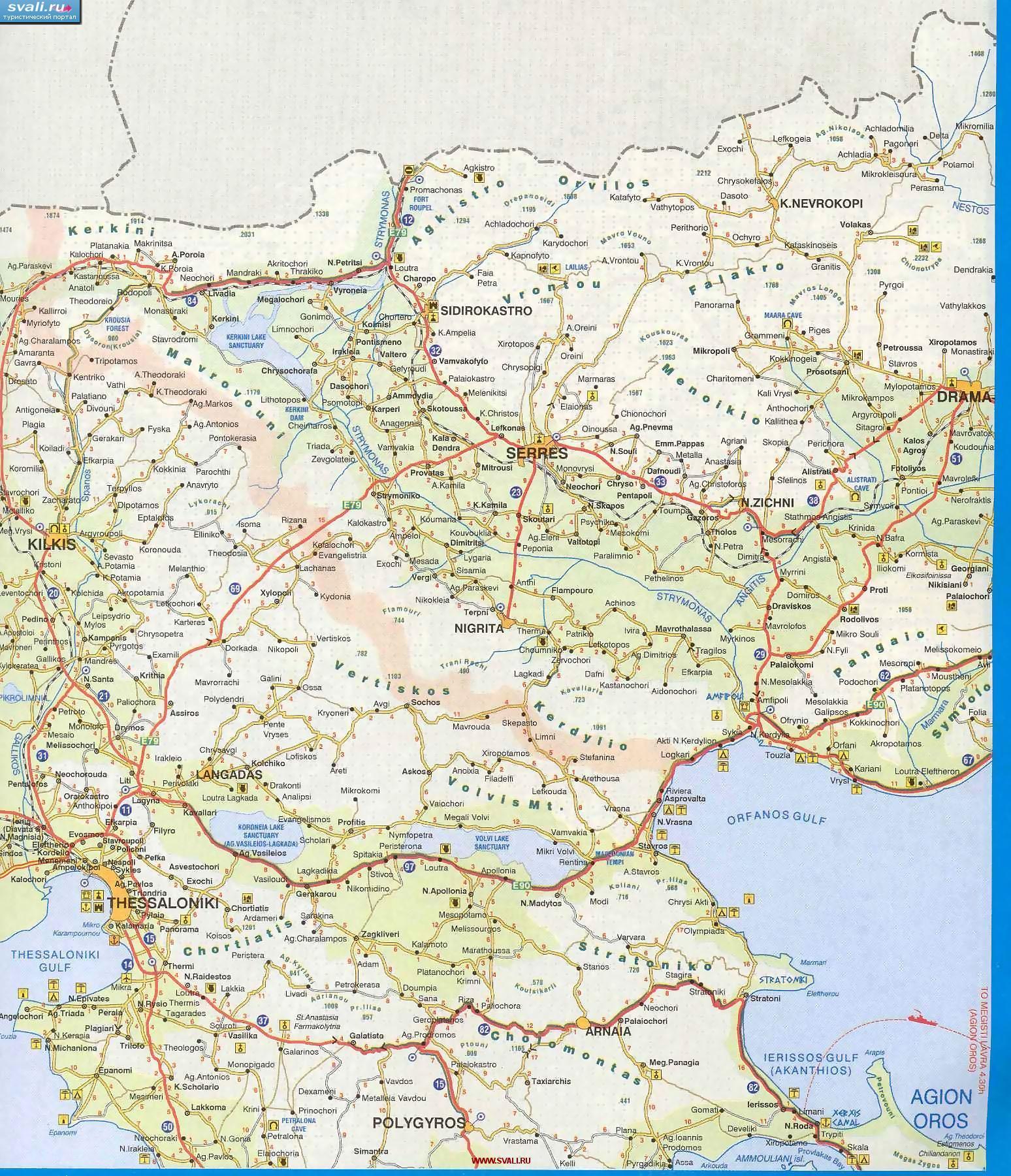 Karty Podrobnaya Karta Vostoka Oblasti Makedoniya Makedonia