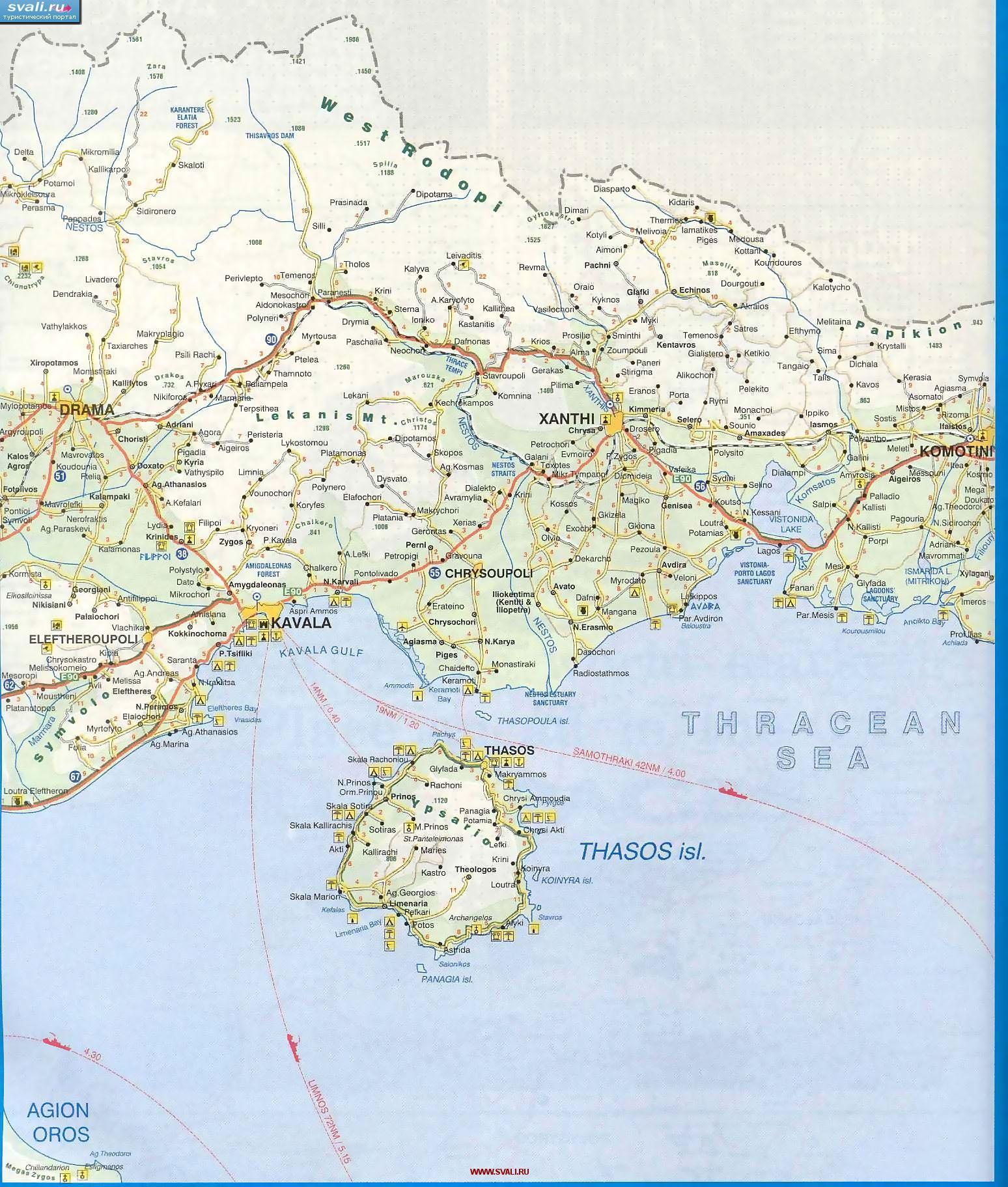 Karty Podrobnaya Karta Zapada Oblasti Frakiya Thrase Kavala