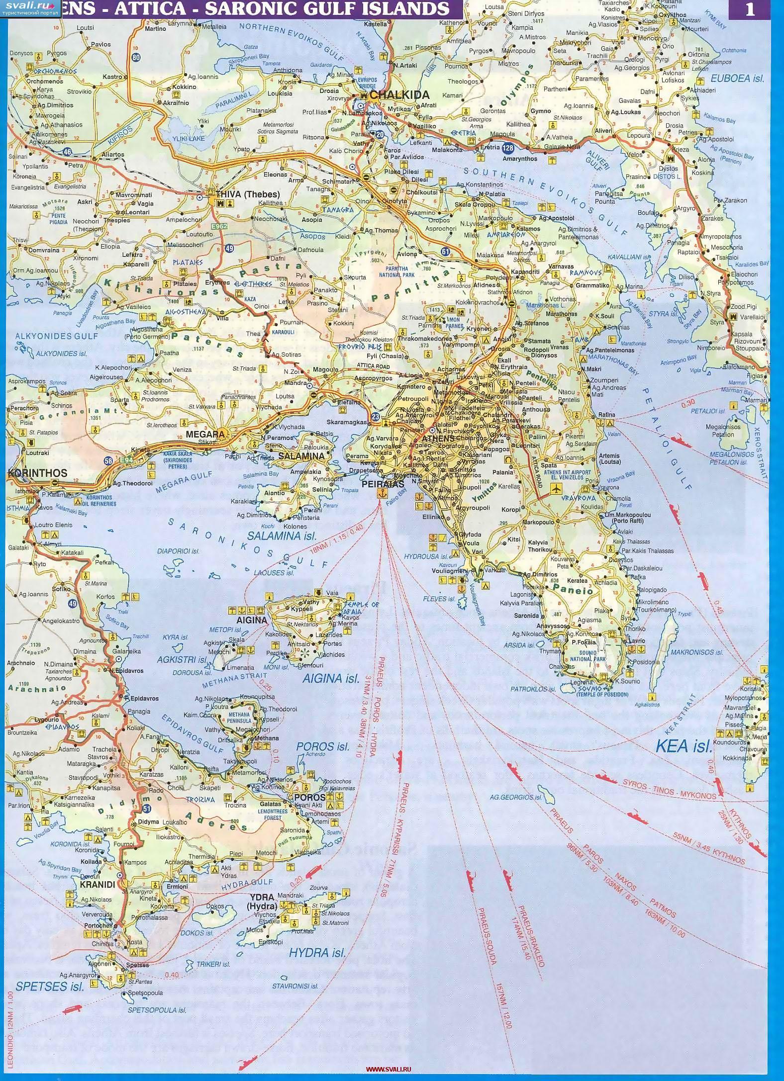 Karty Podrobnaya Karta Oblasti Attika Attica Afiny Fivy