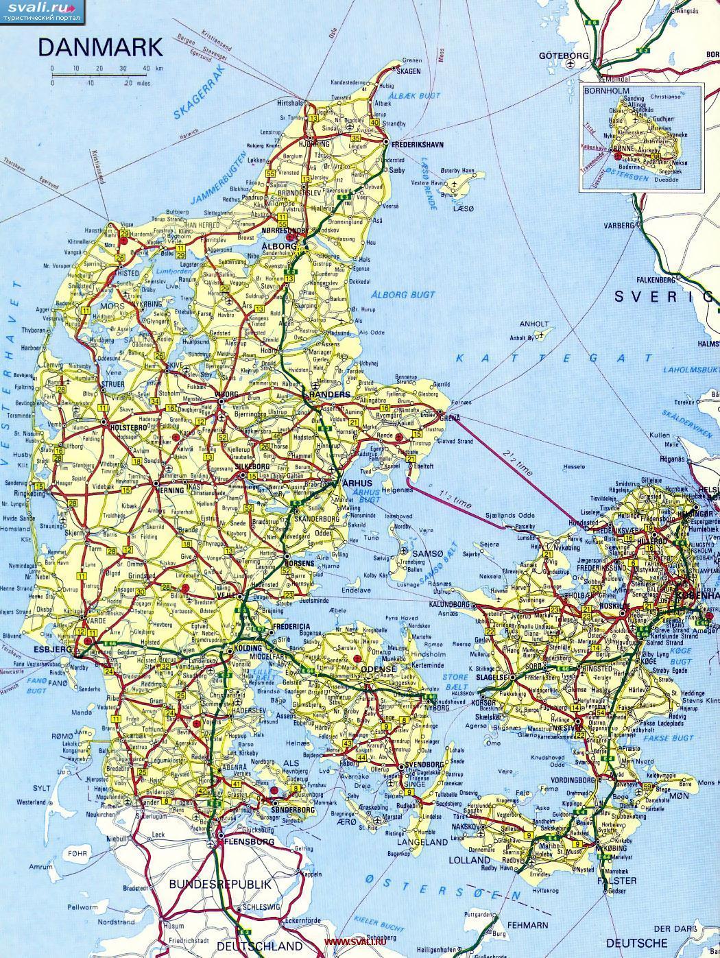 Karty Karta Avtodorog Danii Datsk Daniya Turisticheskij