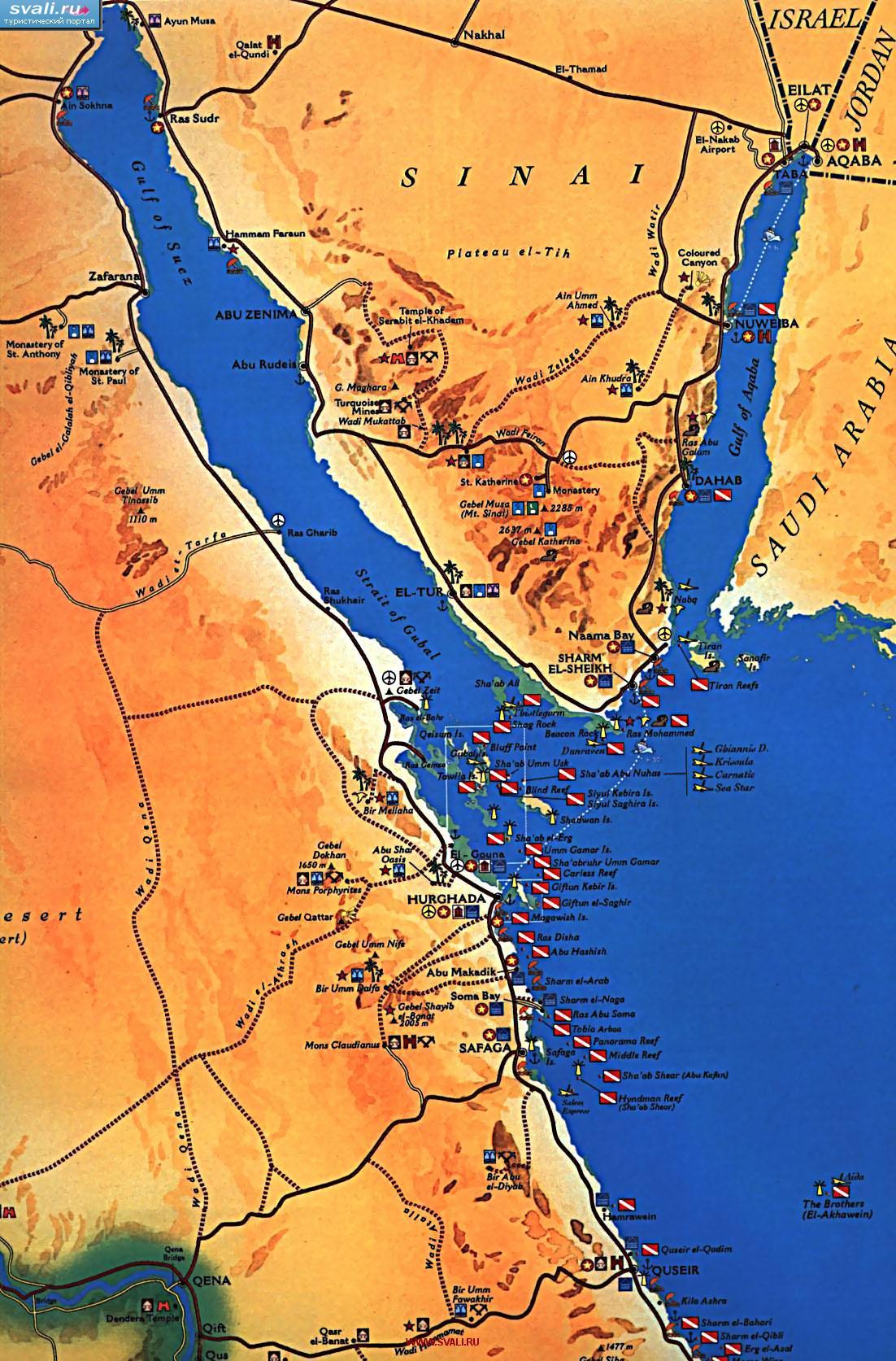 Туристическая карта египта с местами