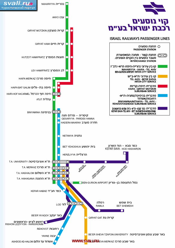 Схема железных дорог Израиля (англ.
