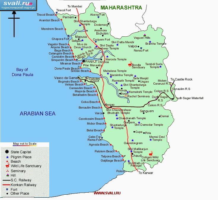 Туристическая карта Гоа, Индия