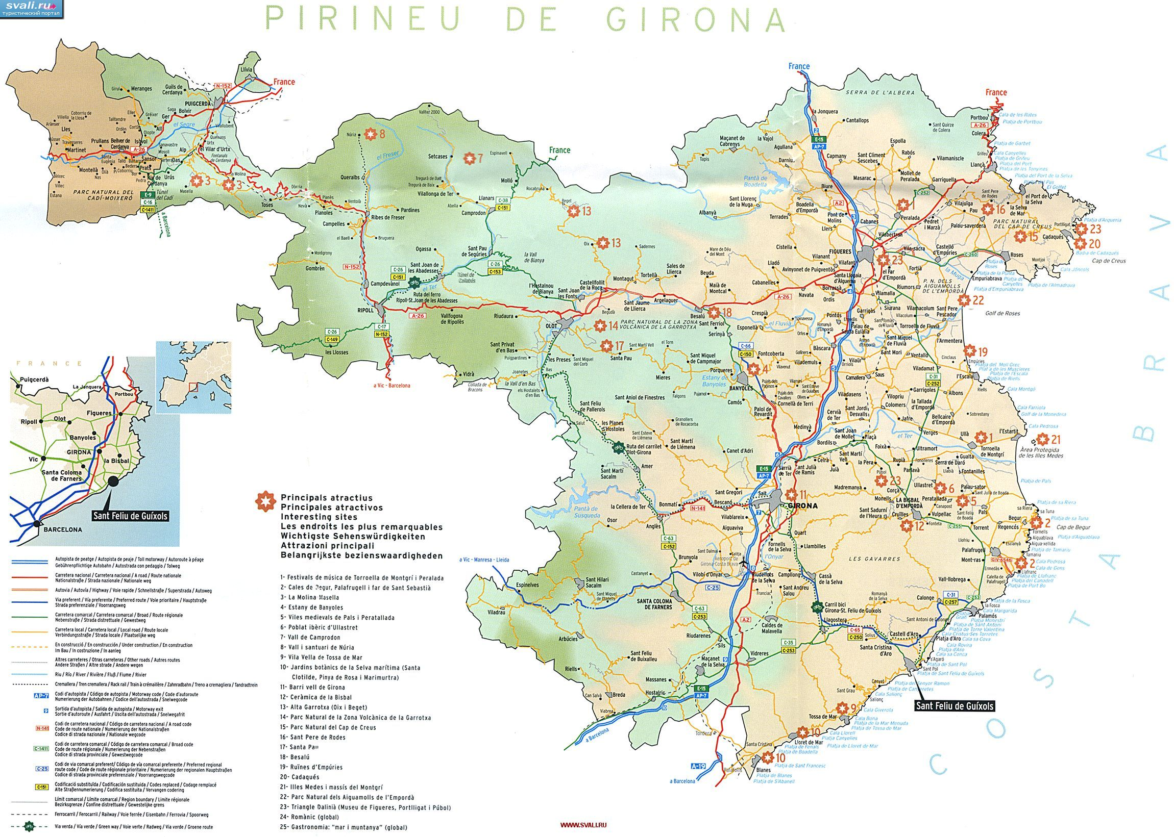 Karty Karta Provincii Zhirona Kataloniya Ispaniya Isp