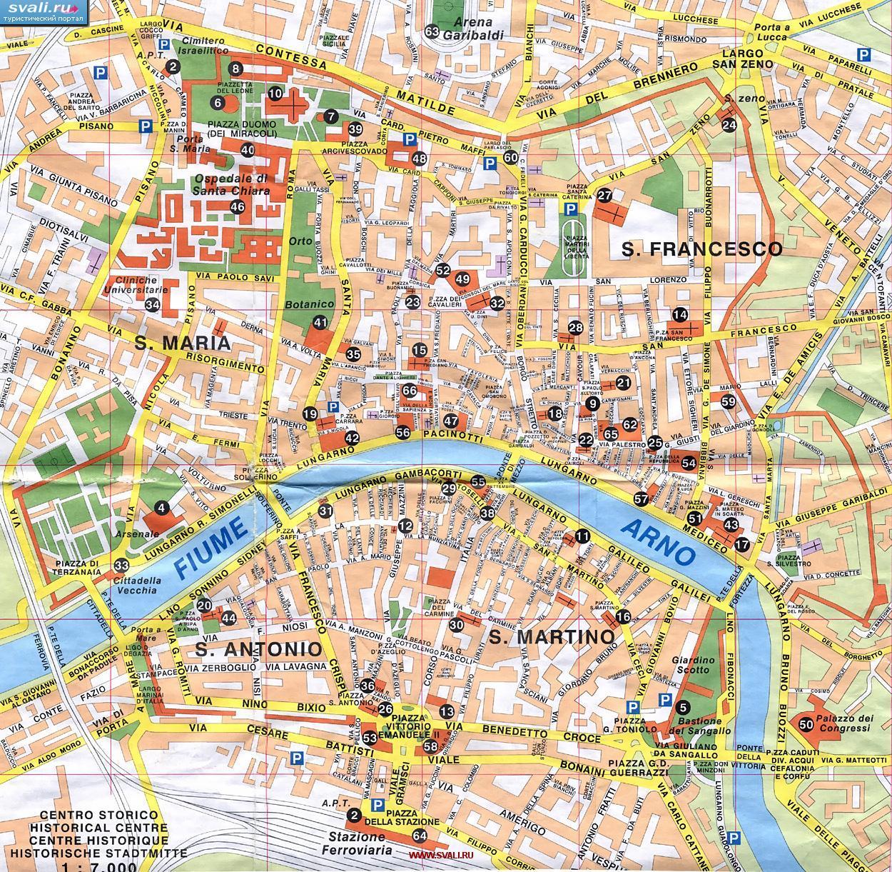 Karty Karta Centra Pizy Piza Italiya Ital Italiya