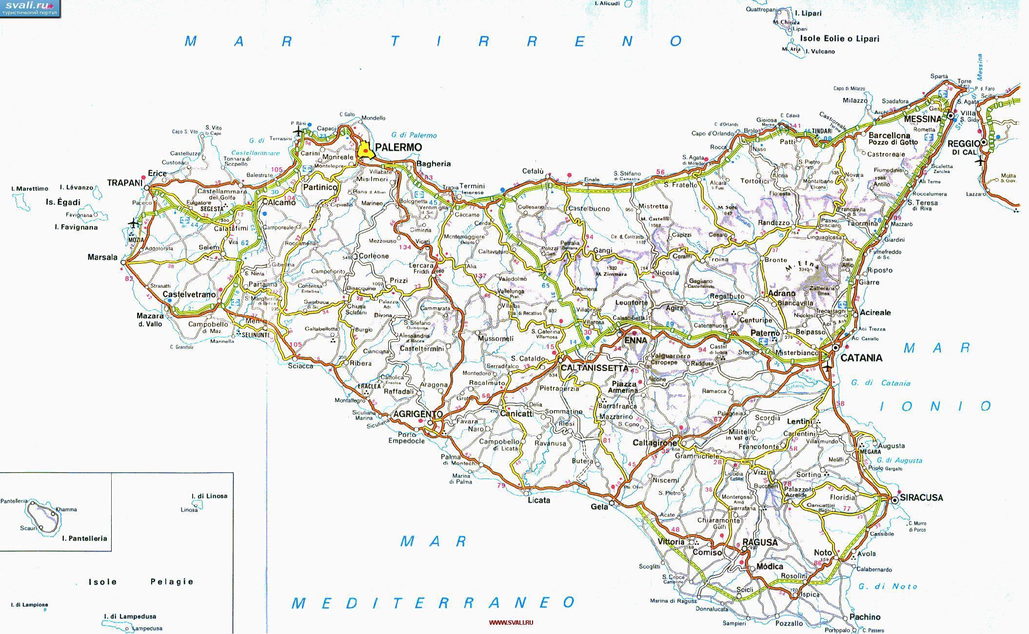 Karty Karta Avtodorog Sicilii S Kilometrazhem Italiya Ital