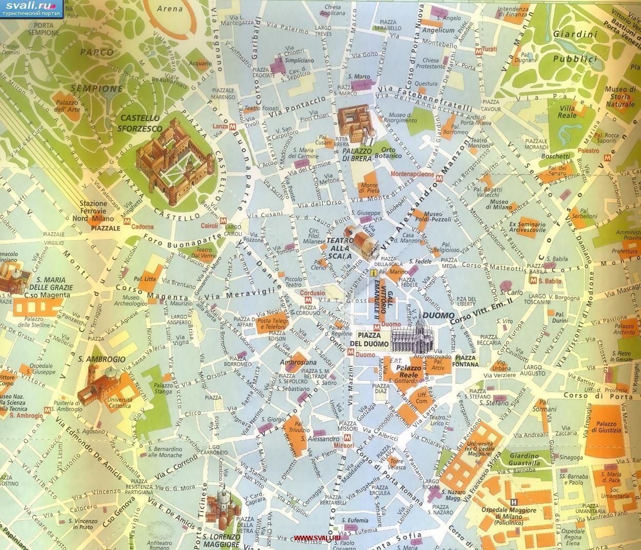 Karty Karta Centra Milana S Dostoprimechatelnostyami Italiya