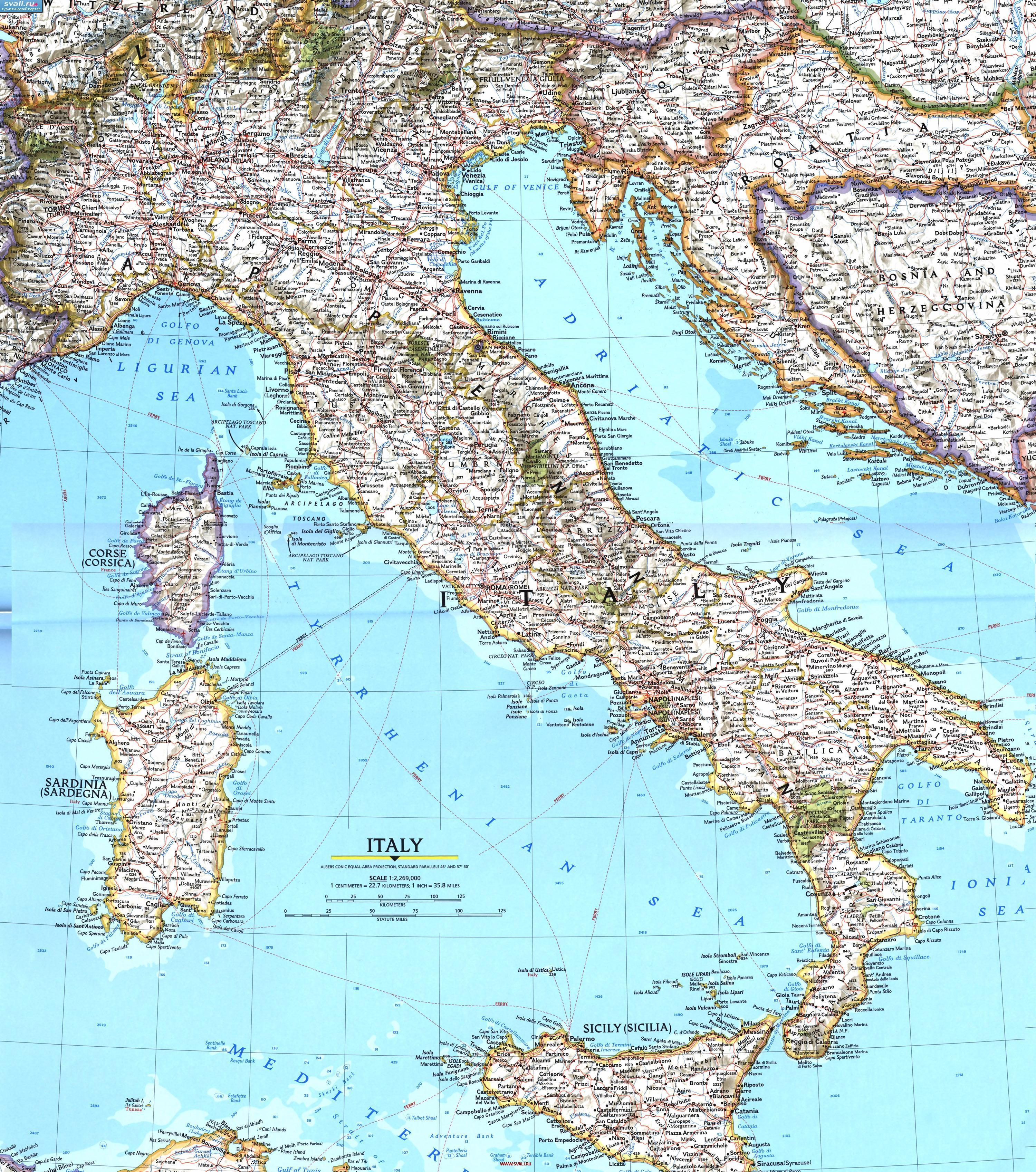 Подробная карта италии итал