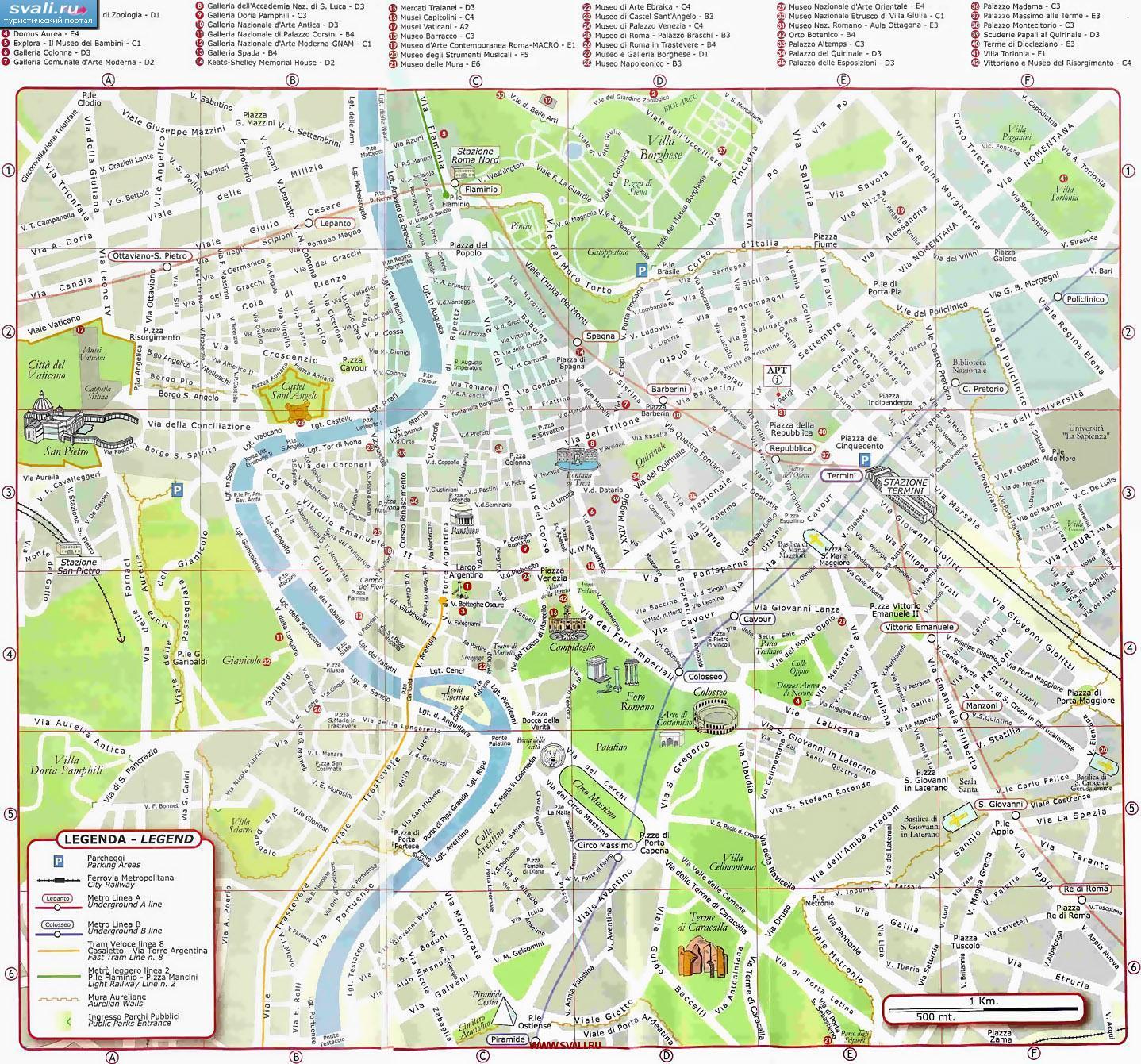 Karty Karta Centra Rima S Dostoprimechatelnostyami Italiya Ital