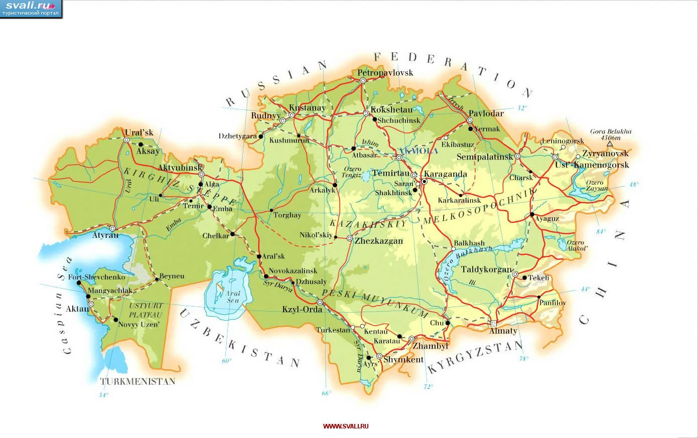 Karty Karta Kazahstana Angl Kazahstan Turisticheskij