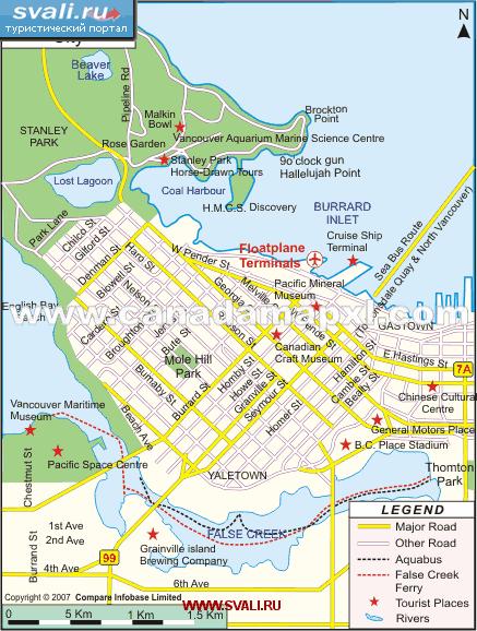 Карта ванкувера канада англ