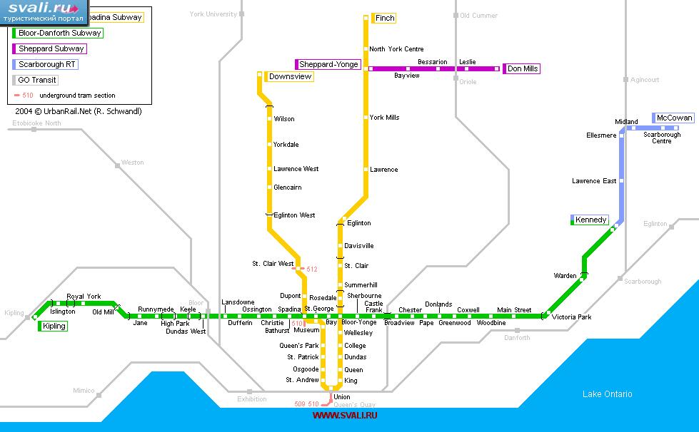 Схема метро Торонто, Канада