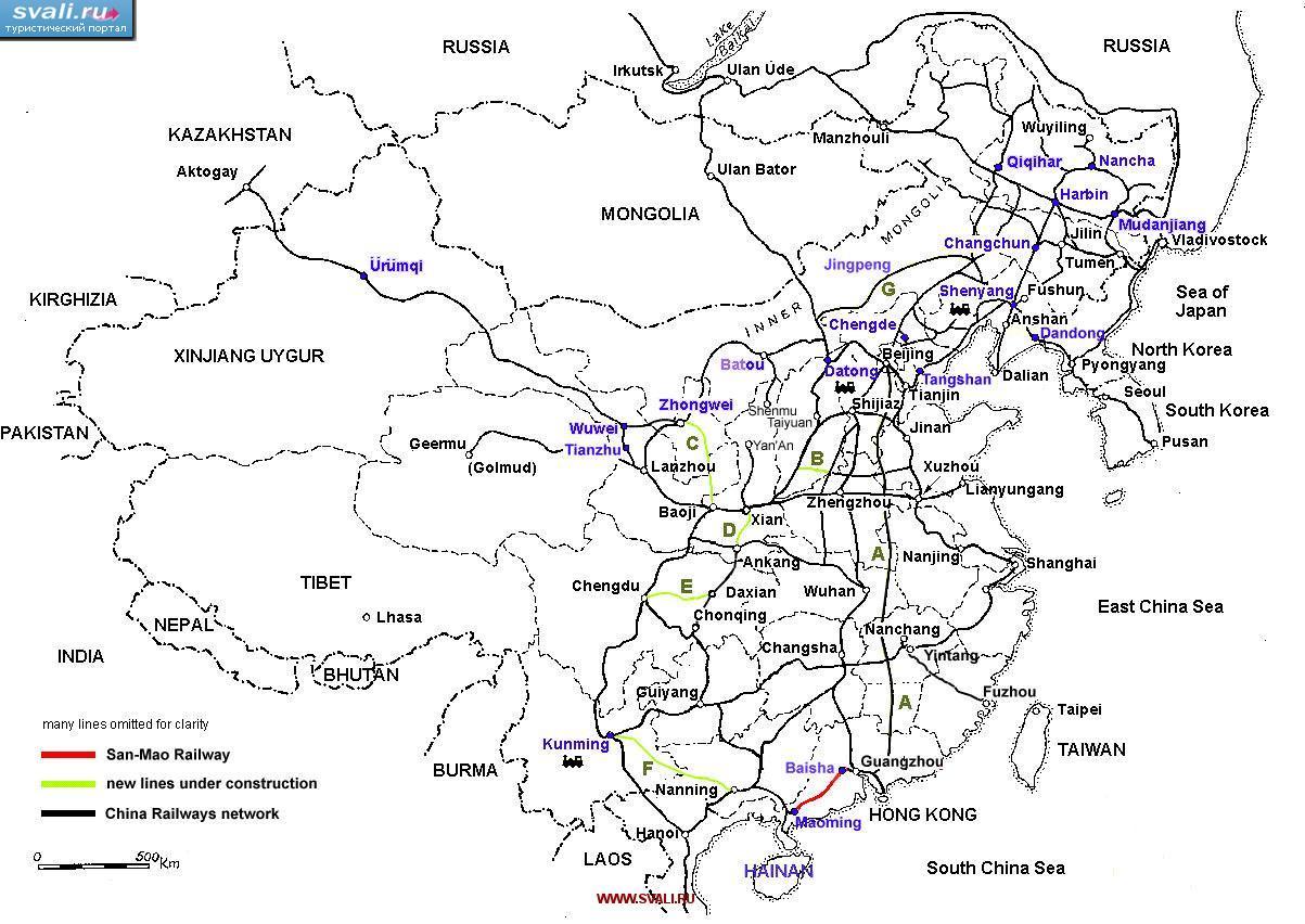 Карта железных дорог Китая (англ.