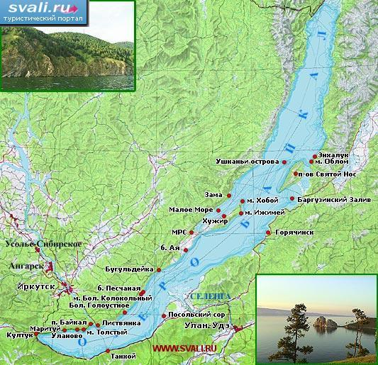 Туристическая карта озера