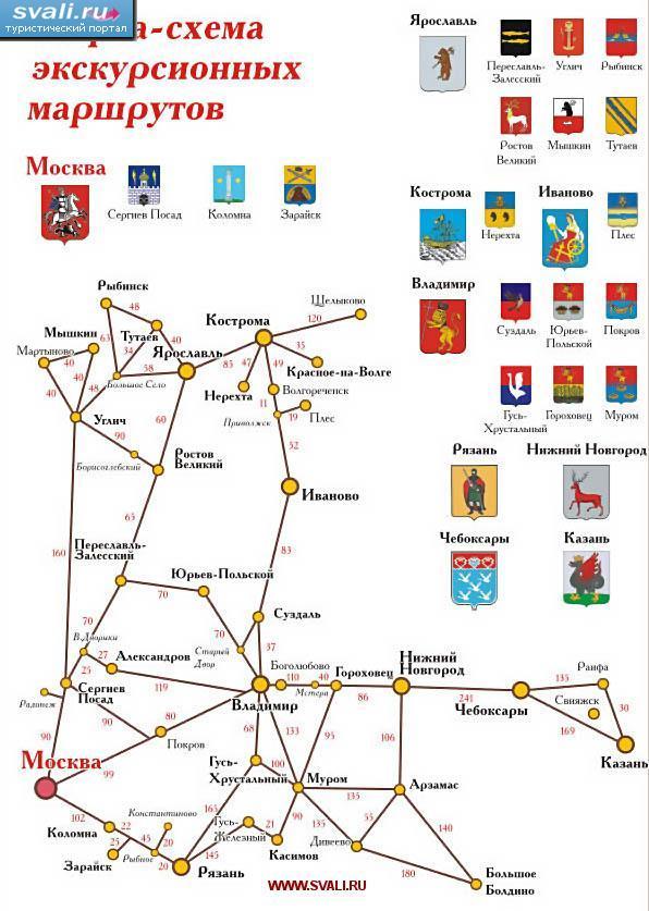 Карта-схема экскурсионных