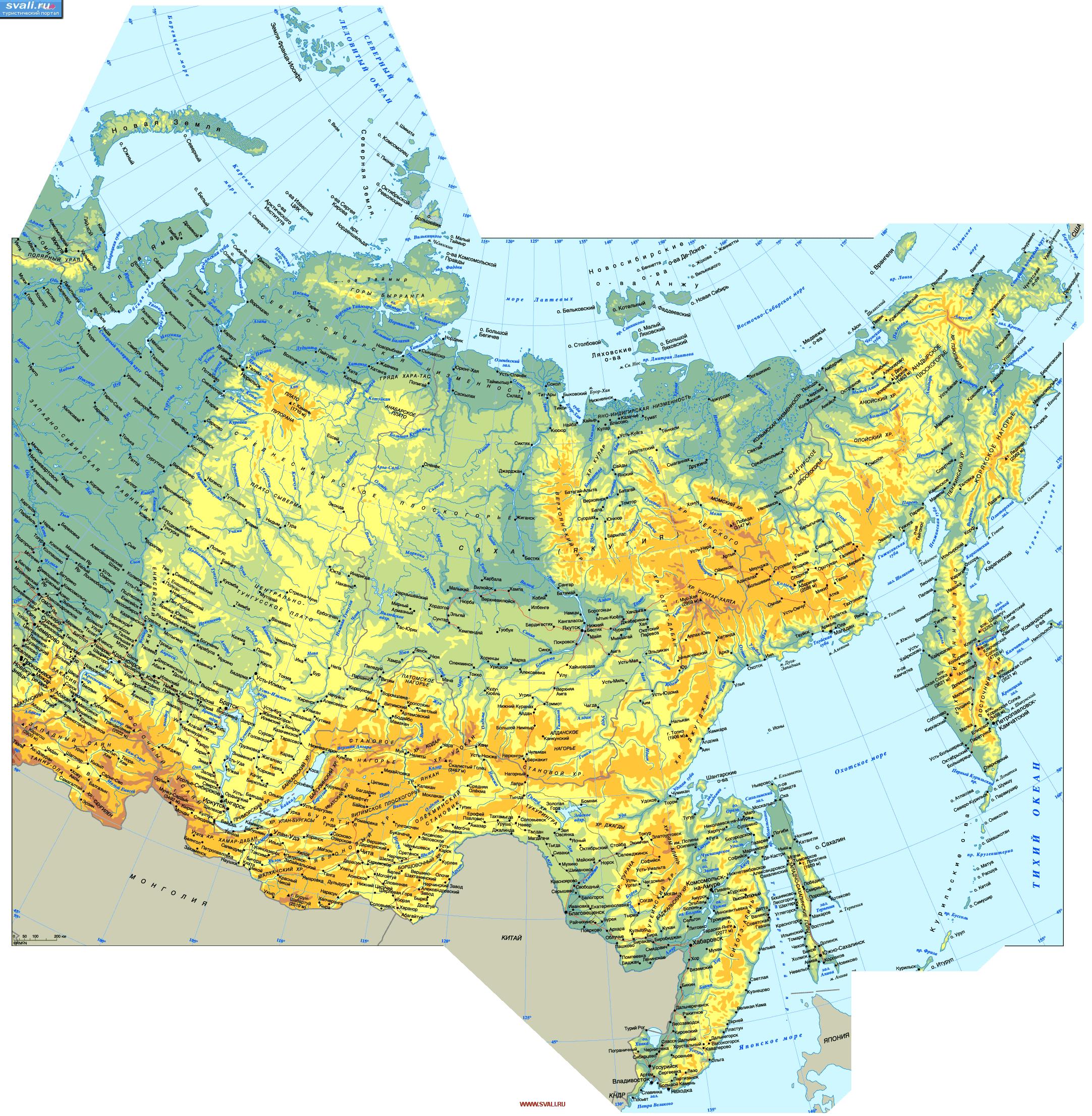 Для увеличения подробной карты России (восточная часть)нажмите на изображение.