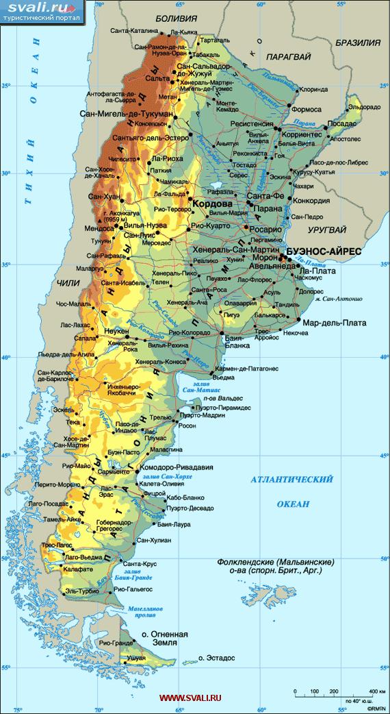 Подробная карта Аргентины.