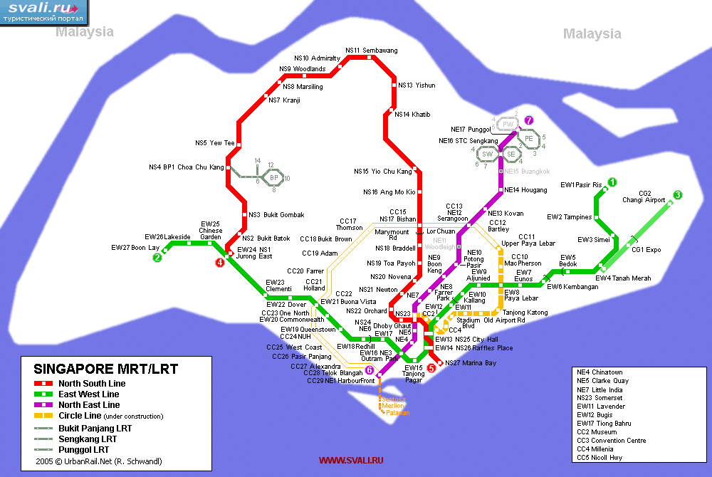 Схема метро Сингапура (англ.)