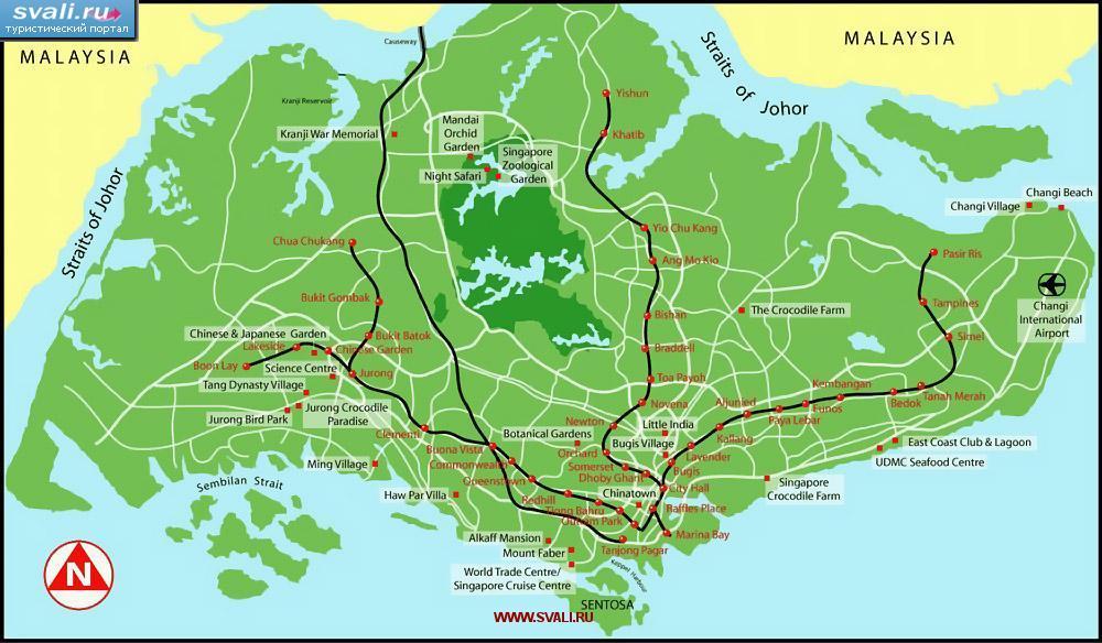 Karty Turisticheskaya Karta Singapura Angl Singapur