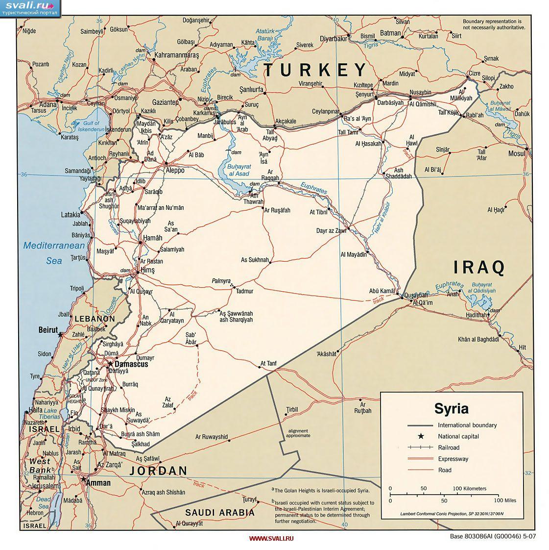 Karty Politicheskaya Karta Sirii Angl Siriya Turisticheskij