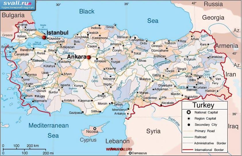 Karty Karta Turcii Angl Turciya Turisticheskij Portal Svali Ru