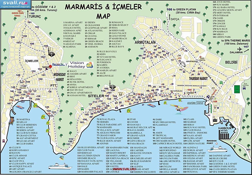 карта турции город измир мармарис: