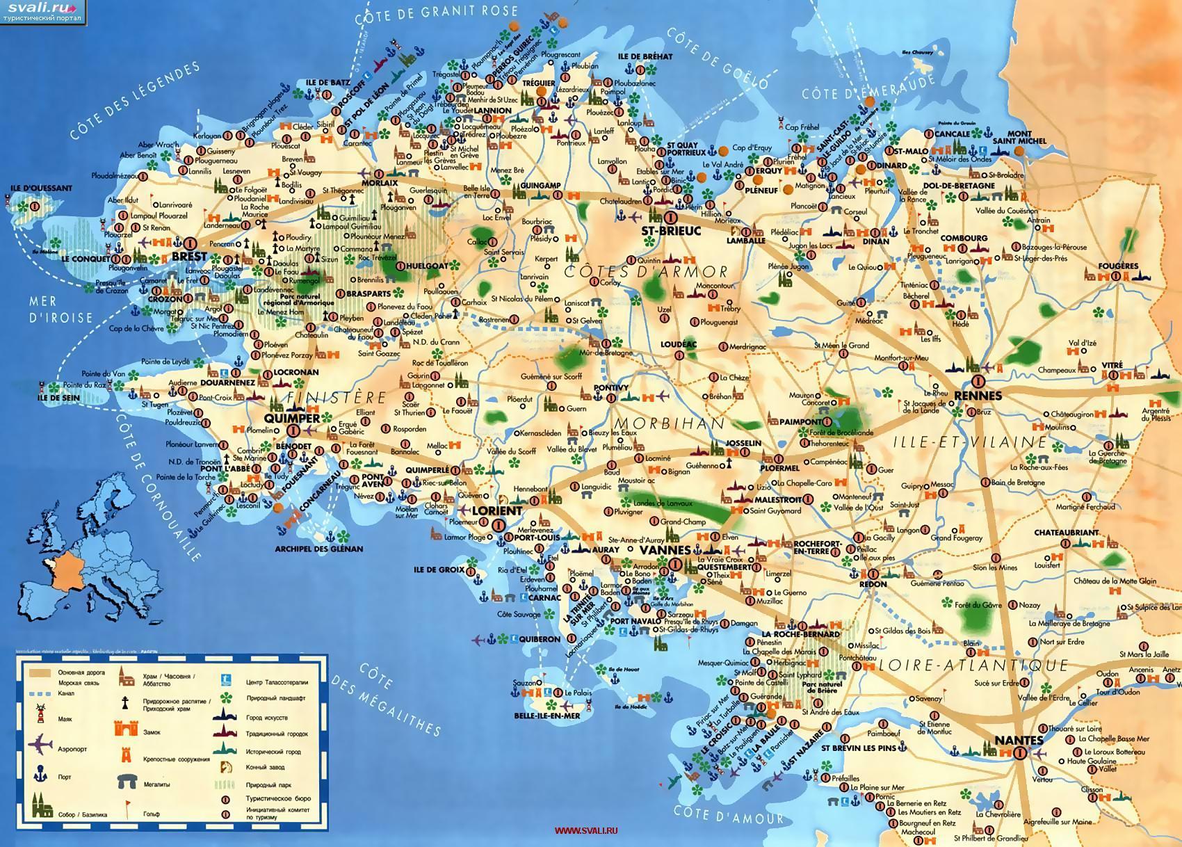 Карта бретани франция на французском
