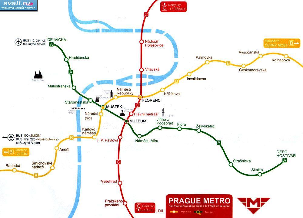Схема метро Праги, Чехия (чеш.